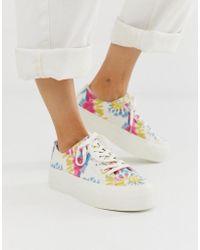 Pull&Bear - Flatform Sneakers In Tie Dye - Lyst