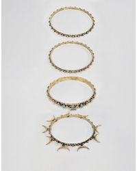 ASOS - Layered Bangle Pack In Burnished Gold Tone - Lyst
