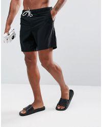 ASOS - Swim Shorts In Black Mid Length - Lyst