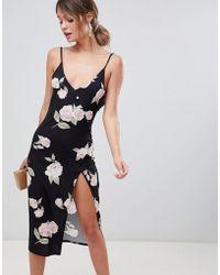 ASOS - Design Slinky Button Rose Print Midi Dress - Lyst