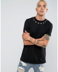 ASOS - Longline T-shirt With Eyelet Neck Detail In Black - Lyst