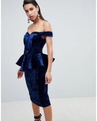 The 8th Sign - The Velvet Peplem Midi Dress - Lyst