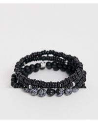 ASOS - Beaded Bracelet Pack In Black With Semi Precious Stones - Lyst