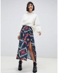 Reclaimed (vintage) - Inspired Midi Skirt In Scarf Print - Lyst