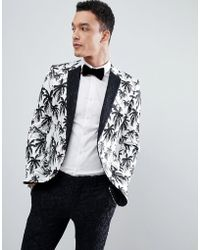 ASOS - Super Skinny Suit Jacket In Black And White Palm Tree Print With Contract Black Lace Lapel - Lyst