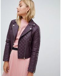 Miss Selfridge - Quilted Faux Leather Biker Jacket In Burgundy - Lyst