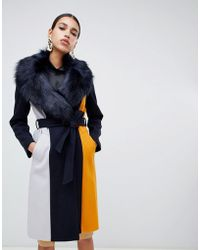 River Island - Tailored Coat With Faux Fur Trim In Navy - Lyst