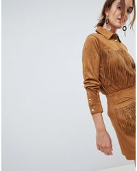 Mango - Fringe Faux Suede Shirt In Brown - Lyst