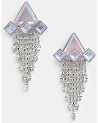 ASOS - Statement Earrings With Iridescent Geo Crystals And Clear Crystal Strands In Gunmetal - Lyst