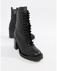 Bronx - Tumbled Leather Lace Up Heeled Ankle Boots - Lyst