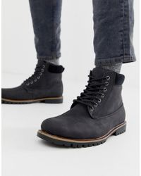 New Look - Worker Boots With Borg Lining In Black - Lyst