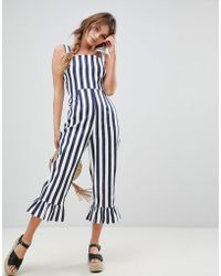 ASOS - Stripe Pinny Jumpsuit With Frill Hem - Lyst