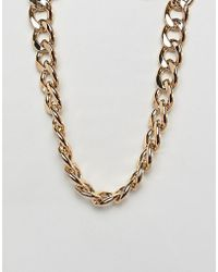 ASOS - Design Necklace With Heavyweight Link Chain In Gold - Lyst