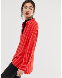 Mango - Striped Shirt In Red - Lyst