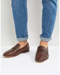 ASOS - Loafers In Brown Leather With Perforated Detail - Lyst