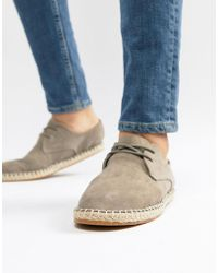 River Island - Lace Up Espadrille In Grey - Lyst