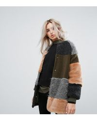 Noisy May Petite - Patchwork Faux Fur Longline Coat - Lyst