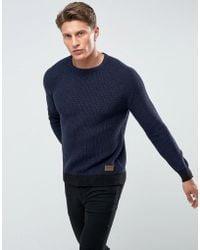 Threadbare - Crew Neck Cable Knit Sweater - Lyst