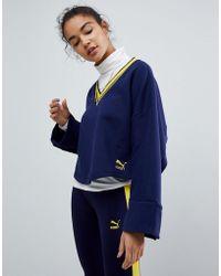 PUMA - V Neck Oversized Sweatshirt With Popper Detail - Lyst