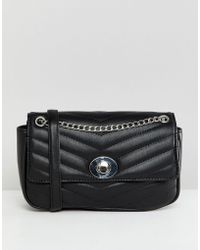 Stradivarius - Quilted Chain Cross Body Bag In Black - Lyst