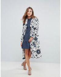 Closet - Wardrobe Print Button Pocket Wool Coat - Lyst