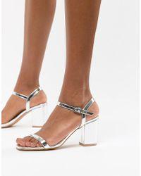 Glamorous - Silver Block Heel Sandals - Lyst