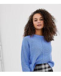 Bershka - Seam Front Sweater In Blue - Lyst