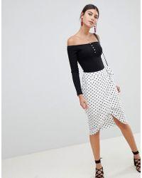 PrettyLittleThing - Polka Dot Wrap Skirt - Lyst