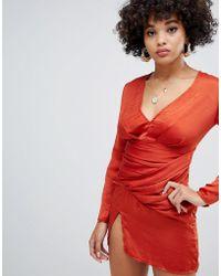 Missguided - Satin Side Split Shift Dress In Rust - Lyst