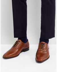 Dune - Toe Cap Derby Shoes In Tan Leather - Lyst