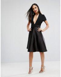Vesper - Bonded Satin Prom Skirt With Bow Back - Lyst