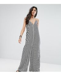 Noisy May Tall - Stripe Contrast Jumpsuit - Lyst
