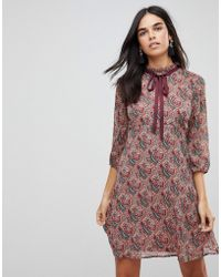 Traffic People - Printed Tea Dress With Bow Detail - Lyst