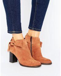 Vero Moda - Suede Bow Heel Boot - Lyst