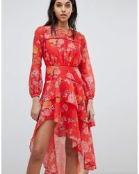 Finders Keepers - Finders Floral Printed Ruffle Dress - Lyst
