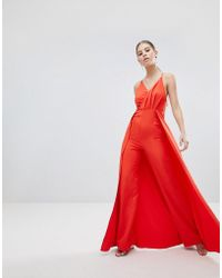 cf886d50815 ASOS - Drape Bodice Jumpsuit With Wide Leg And Overlay - Lyst