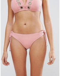 Lost Ink - Eyelet Textured Bikini Bottom - Lyst