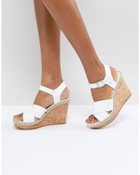 Dune - Cork Wedge With Leather Tan Cross Straps - Lyst