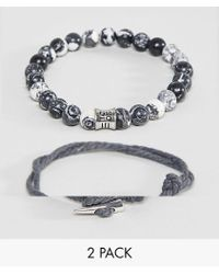 Icon Brand | Grey Cord & Beaded Bracelet In 2 Pack | Lyst
