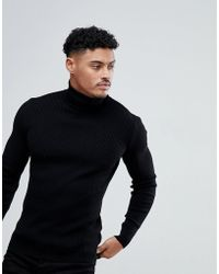 ASOS - Muscle Fit Ribbed Roll Neck Jumper In Black - Lyst