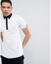 Antony Morato - Polo Shirt With Contrast Collar In White - Lyst
