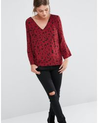 See U Soon - Ee U Soon Blouse With V Neck In Leopard Print - Lyst