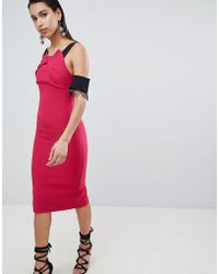 The 8th Sign - The Pencil Midi Dress With Lace Sleeve Detail - Lyst
