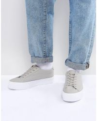 ASOS - Lace Up Plimsolls In Grey Mesh With Chunky Sole - Lyst
