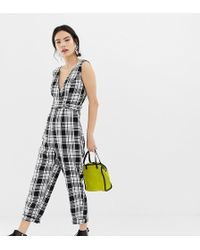 Miss Selfridge - Jumpsuit With Cross Front In Check - Lyst