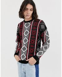 ASOS - Oversized Jumper With Aztec Pattern - Lyst