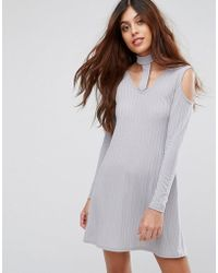 Be Jealous - Ribbed Swing Dress With Tie Neck - Lyst