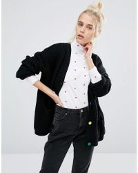 Lazy Oaf - College Cardigan In Knitted Rib With Bad Habit Back - Lyst