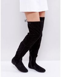 Daisy Street - Lace Back Black Over The Knee Boots - Lyst