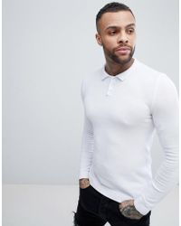 ASOS - Knitted Muscle Fit Polo Shirt In White - Lyst